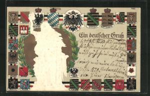 Präge-AK Wappen Deutschlands mit Schwarzburg-Sond., Waldeck & Reuss
