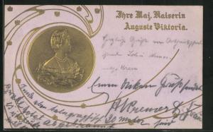 Präge-AK Portrait als Goldmünze Kaiserin Auguste Victoria Königin von Preussen