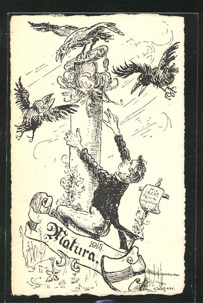 Künstler-AK Matura 1915, Absolvent klettert zum Diplom 0
