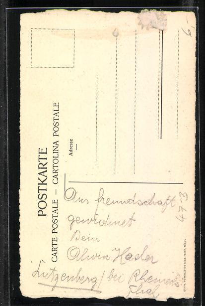 Künstler-AK Matura 1915, Absolvent klettert zum Diplom 1