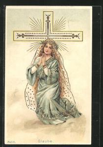 Künstler-AK Alfred Mailick: Allegorie Glaube, Betende am Kreuz