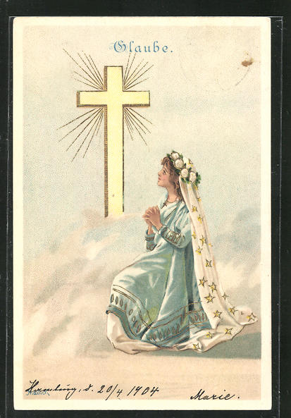 Künstler-AK Alfred Mailick: Allegorie Glaube, betendes Mädchen am Kreuz 0