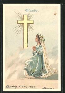 Künstler-AK Alfred Mailick: Allegorie Glaube, betendes Mädchen am Kreuz