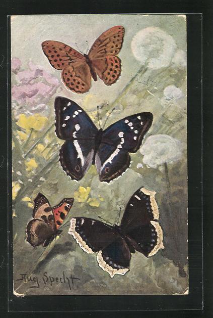 Künstler-AK Schmetterlinge und Pusteblumenn 0