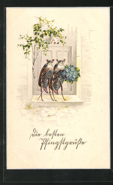 Künstler-AK Zwei Maikäfer mit Blumenstrauss vor der Tür 0