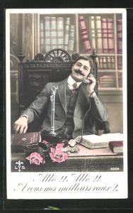 AK Allo!! Allo Avous mes meilleurs voeux!, Herr am Schreibtisch mit Telefon