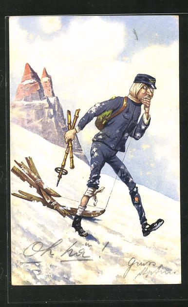 Künstler-AK Verwundeter Soldat mit zerbrochenem Ski am Berghang 0