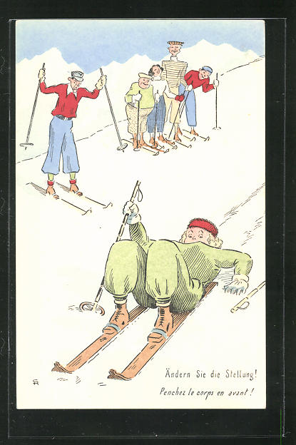 Künstler-AK Ändern Sie die Stellung!..., Dame fährt liegend Ski 0