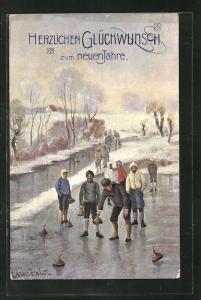 Künstler-AK Männer beim Curling / Eisstockschiessen