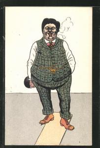 AK Dicker Herr mit Zigarette beim Kegeln