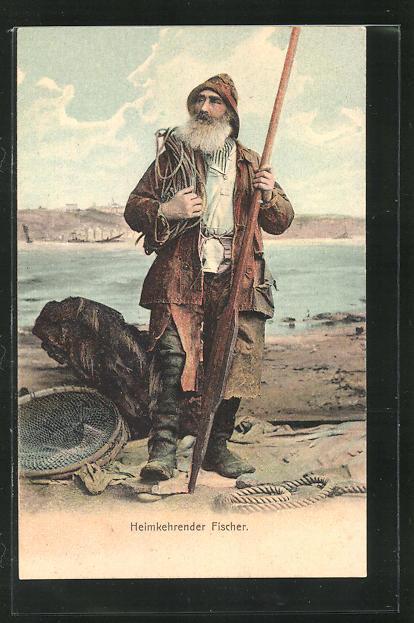 AK Heimkehrender Fischer mit Reuse 0