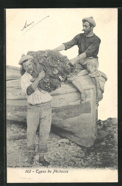 AK Types de Pecheurs, Fischer tragen die Reuse vom Boot 0