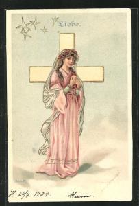 Künstler-AK Alfred Mailick: Allegorie Liebe, Frau betet vor dem Kreuz
