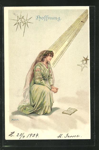 Künstler-AK Alfred Mailick: Allegorie Hoffnung, betende Frau wird erleuchtet 0