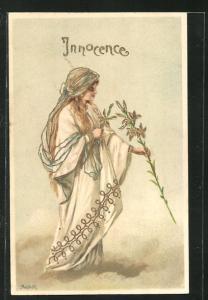 Künstler-AK Alfred Mailick: Allegorie Innocence, Frau mit Lilie
