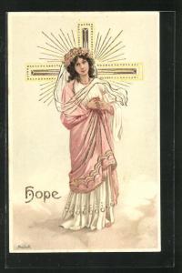 Künstler-AK Alfred Mailick: Allegorie Hope, junge Frau greift ihr Herz am Kreuz