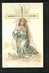 Künstler-AK Alfred Mailick: Allegorie Faith, betende junge Frau am Kreuz