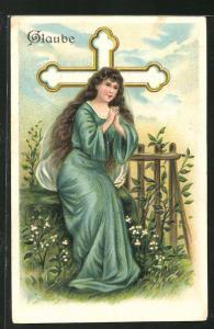 Präge-Lithographie Allegorie Glaube, betende Frau vor einem Kreuz