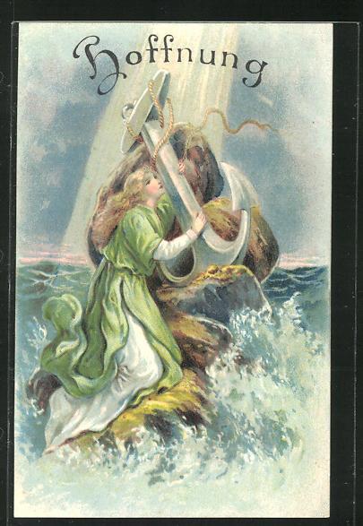 Präge-Lithographie Allegorie Hoffnung, Frau mit Anker in der Brandung 0