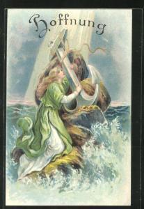 Präge-Lithographie Allegorie Hoffnung, Frau mit Anker in der Brandung