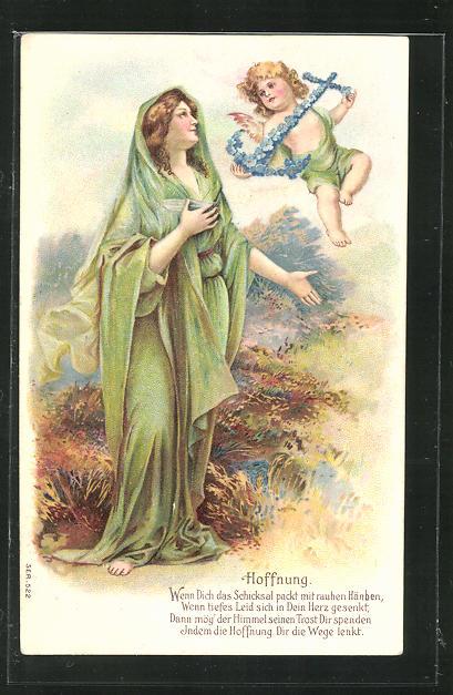 Präge-Lithographie Allegorie Hoffnung, Dame und Putte mit Anker 0