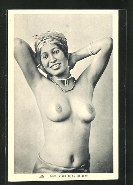 AK Etude de nu indigene, arabische nackte Frau verschränkt die Arme hinterm Kopf 0