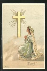 Künstler-AK Alfred Mailick: Allegorie Faith, betendes Mädchen vor einem Kreuz