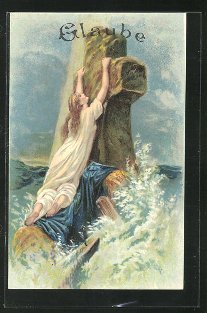 Präge-Lithographie Allegorie Glaube, Frau klammert sich an ein Kreuz in der Brandung 0