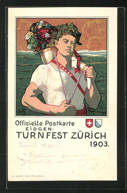 Lithographie Zürich, Eigen. Turnfest 1903, Aportler mit Eichenkranz 0
