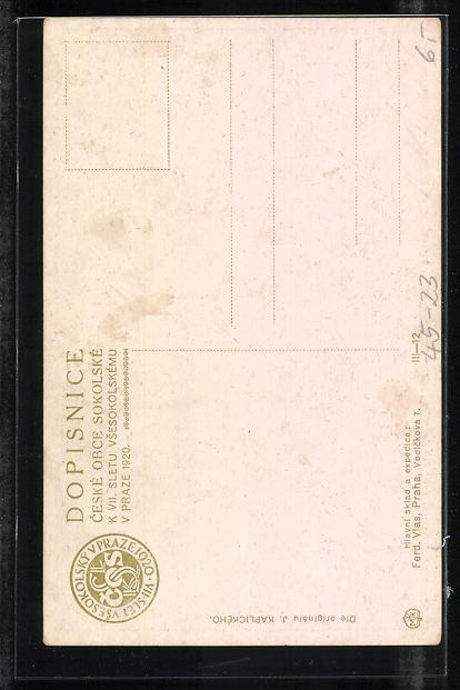 Künstler-AK Prag / Praze, VII. Slet Vsesokolsky 1920, Sokol 1