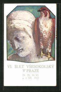 Künstler-AK Prag / Praze, VI. Slet Vsesokolsky 1912, Sokol, Falke