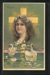Präge-Lithographie Allegorie Glaube mit Schwänen
