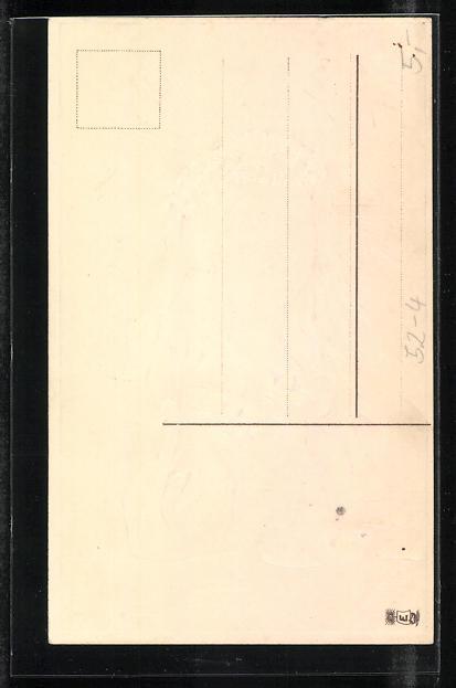 Präge-Lithographie Allegorie Glaube mit Schwänen 1