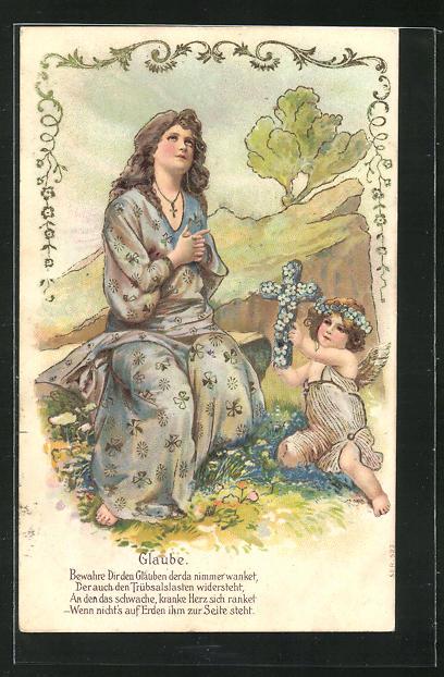 Präge-Lithographie Allegorie Glaube, Frau beim Gebet mit Putte 0