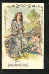 Präge-Lithographie Allegorie Glaube, Frau beim Gebet mit Putte
