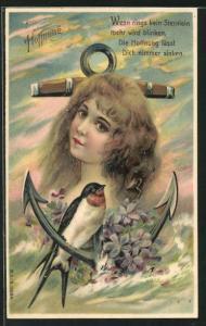 Präge-Lithographie Allegorie Hoffnung, Mädchen mit Schwalbe und Anker