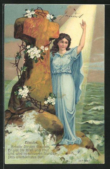Präge-Lithographie Allegorie Glaube, Maria am Steinkreuz vor dem Meer 0