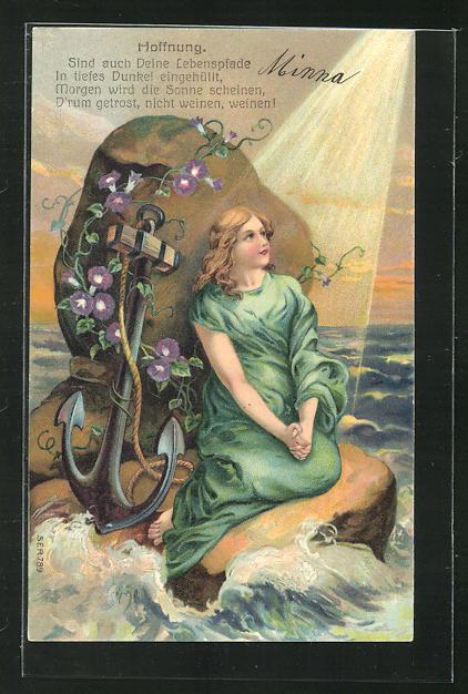 Präge-Lithographie Allegorie Hoffnung, Mädchen auf dem Felsen beim Gebet 0