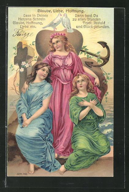 Präge-Lithographie Allegorie Glaube, Liebe, Hoffnung, drei Frauen mit Anker, Kreuz und Tauben 0