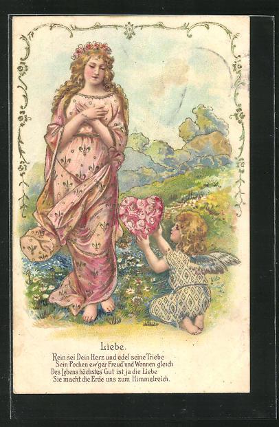 Präge-Lithographie Allegorie Liebe, Putte reicht der Frau ein Rosenherz 0