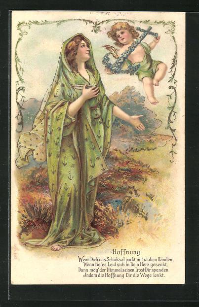 Präge-Lithographie Allegorie Hoffnung, Frau mit Putte und Anker 0
