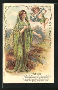 Präge-Lithographie Allegorie Hoffnung, Frau mit Putte und Anker
