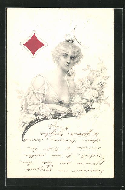 Künstler-AK Karo-Dame mit Krone, Kartenspiel 0