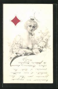 Künstler-AK Karo-Dame mit Krone, Kartenspiel