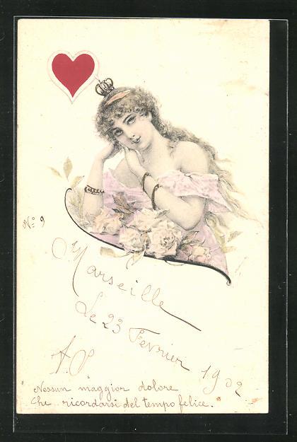 Künstler-AK Herz-Dame mit Krone, Kartenspiel 0