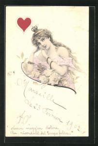 Künstler-AK Herz-Dame mit Krone, Kartenspiel