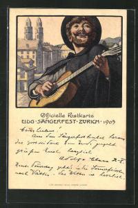 Künstler-AK Zürich, Eidgen. Sängerfest 1905, Musikant mit Gitarre