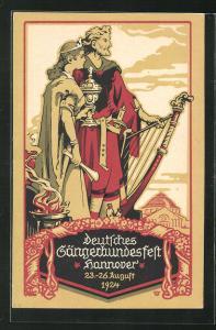 Künstler-AK Hannover, Deutsches Sängerfest 1924, Harfe und Pokal
