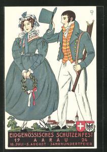Künstler-AK Aarau, Eidgenössisches Schützenfest 1924, Paar in Tracht