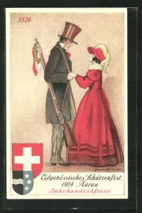 Künstler-AK Aarau, Eidgenössisches Schützenfest 1924 Jahrhundertfeier, Wappen
